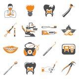 Fastställd tand- service två färgsymboler Royaltyfri Fotografi