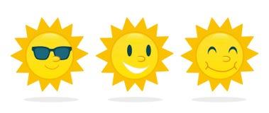 Fastställd teckenvektor för sol royaltyfri illustrationer