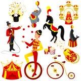 Fastställd tecknad film för cirkus stock illustrationer