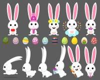 Fastställd tecknad filmillustration för vektor av gullig kanin och kaninen med moroten, pilbåge, easter ägg, hjärta, höna, royaltyfri illustrationer