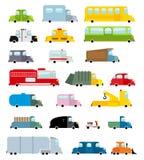 Fastställd tecknad filmstil för bil Stor transportsymbolssamling Jordse Arkivbild