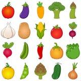 Fastställd tecknad filmstil för färgrika grönsaker Arkivfoto