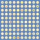 fastställd tecknad filmvektor för 100 startup symboler Arkivfoton