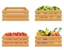 Fastställd träask med ny och sund grönsakvektorillustra Arkivbild