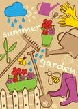 Fastställd trädgård, illustration royaltyfri foto