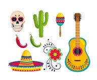 Fastställd traditionell mexikansk garnering till händelseberöm stock illustrationer