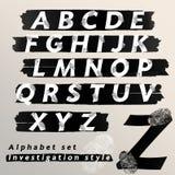 Fastställd utredning för alfabet och teckenstil Royaltyfri Fotografi