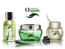 Fastställd vektor aloevera för organiska skönhetsmedel Lotion och duschen stelnar upp realistisk åtlöje Produkt som förpackar bio stock illustrationer