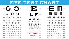 Fastställd vektor för ögonprovdiagram Optisk examen för visionprov Sunt sucka Medicinsk vård Ögonläkare oftalmologi stock illustrationer