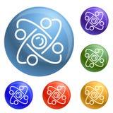 Fastställd vektor för atomsymboler royaltyfri illustrationer