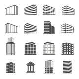 Fastställd vektor för Buidings symboler vektor illustrationer