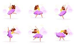 Fastställd vektor för dansare cartoon stock illustrationer
