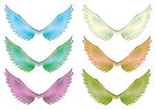 Fastställd vektor för färgrika vingar Royaltyfri Fotografi