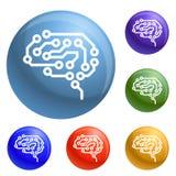 Fastställd vektor för framtida hjärnsymboler vektor illustrationer
