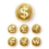 Fastställd vektor för guld- mynt Realistisk pengarteckenillustration Dollar euro, GBP, rupie, franc, Renminbi Yuan som segras stock illustrationer