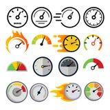 Fastställd vektor för hastighetsmätaresymbol Hastighetssymbol Auto makt Bilmanöverenhet Trans.beståndsdel Snabb indikator stock illustrationer