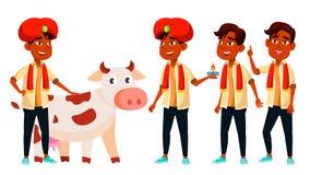Fastställd vektor för indisk pojke Diwali helgedom, ko För presentation tryck, inbjudandesign Isolerad tecknad filmillustration stock illustrationer