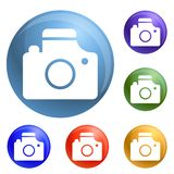 Fastställd vektor för kamerasymboler vektor illustrationer