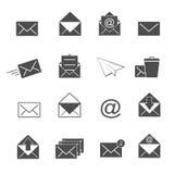 Fastställd vektor för kuvert- och postsymboler stock illustrationer