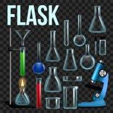 Fastställd vektor för laboratoriumflaska Glasföremål dryckeskärl Tom utrustning för kemiexperiment Kemiska labbinstrument royaltyfri illustrationer
