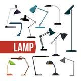 Fastställd vektor för lampa Moderna lampor för tabellskrivbordkontor Idérikt modernt möblemangljus för inomhus elektricitet Hem-  stock illustrationer