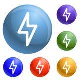 Fastställd vektor för ljusa maktsymboler stock illustrationer