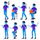 Fastställd vektor för man Moderna lutningfärger Folk i handling Affärstecken Idérik Human Isolerad plan illustration stock illustrationer