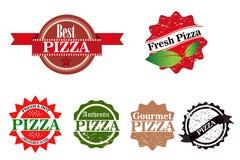 Fastställd vektor för pizzastämplar Arkivbilder