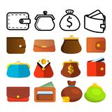 Fastställd vektor för plånboksymbol Mynt och pappers- pengar Handväskaplånbokpåse Betalningtecken Finansvalutadesign Finansmarkna stock illustrationer
