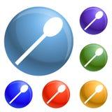 Fastställd vektor för plast- skedsymboler vektor illustrationer