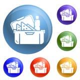 Fastställd vektor för stora lunchboxsymboler royaltyfri illustrationer