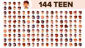 Fastställd vektor för tonåringAvatar Mång- ras- Vänd sinnesrörelser mot Multinationell användarefolkstående Man kvinnlig ethnic s stock illustrationer
