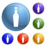 Fastställd vektor för whiskyexponeringsglassymboler vektor illustrationer
