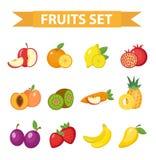 Fastställd vektorillustration för frukt Bär frukt symbolen, lägenhetstil Arkivfoto