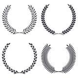 Fastställd vektorkontur för krans Sida- och filialrundaramar Royaltyfri Fotografi