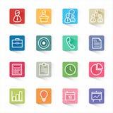 Fastställda affärs- och finanssymboler och vit bakgrund Arkivfoton