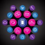 Fastställda App-symboler Royaltyfri Fotografi