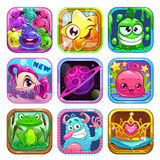 Fastställda App-symboler Royaltyfria Bilder