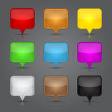 Fastställda App-symboler. Glansigt tomt kartlägger klämmer fast symbolsrengöringsduk knäppas. royaltyfri illustrationer