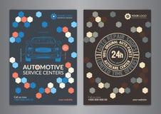Fastställda automatiska för affärsorientering för tjänste- mitt mallar A5 den auto reparationen A4 shoppar broschyrmallar, biltid Arkivbilder