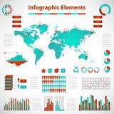 Fastställda beståndsdelar av infographicsröd-blått Arkivbilder