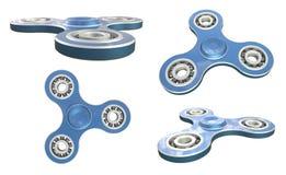 Fastställda blått för leksak för avlösning för rastlös människaspinnarespänning på vit backgrond illustration 3d Royaltyfria Foton