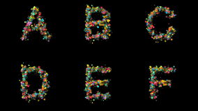 Fastställda blom- bokstäver A B, C, D, E, F arkivfilmer