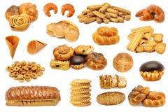 Fastställda brödproduktkex, kakor, muffin, rulle isolerade nolla Arkivfoto