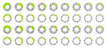 Fastställda cirkeldiagrampilar Gray And Green stock illustrationer
