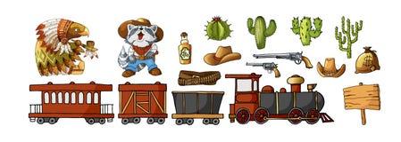 Fastställda cowboy- och vilda västernetiketter för vektor och klistermärkebeståndsdelar i tecknad filmstil vektor illustrationer