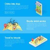 Fastställda cykelbaner Köp online-cykelhyror, service, försäljningar Isometrisk fasad av lagerbegreppsillustrationen Royaltyfri Fotografi