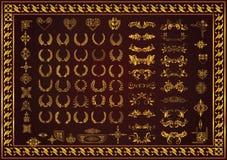 Fastställda dekorativa beståndsdelar och emblemlagerkransar vektor illustrationer