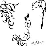 Fastställda dekorativa designbeståndsdelar, calligraphic krusidullar söker dekoren Arkivfoton