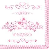 Fastställda dekorativa rosa karaktärsteckningar för vektor med hjärtor, tappninggräns Arkivbild